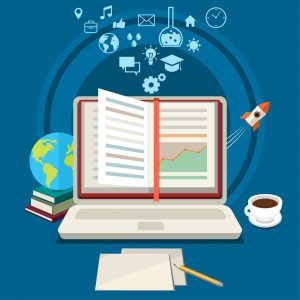 Concept of online education. E-learning science with symbol of book like computer. Flat design, vector illustration